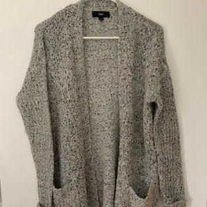 Marled Grey Open Long Cardigan